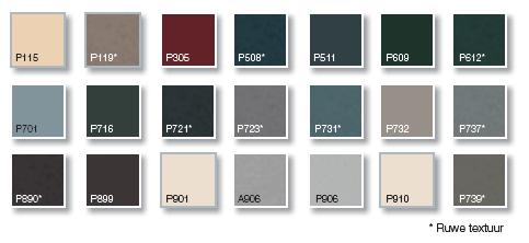 Aluminium kleurenpalet basis Profel